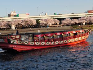 赤い船と対岸の桜
